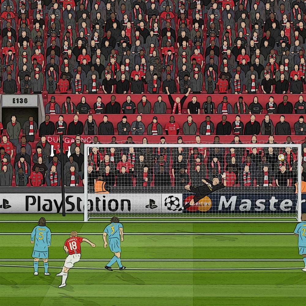 Manchester United Paul Scholes Champions League Semi Final Etsy Manchester United Champions Manchester United Manchester United Soccer