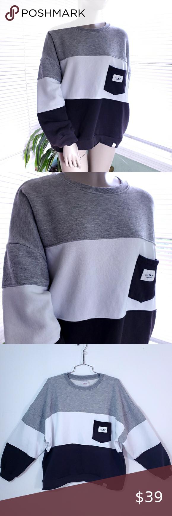 Pull Bear Baggy Stripe Fleece Sweatshirt Sweatshirt Fleece Sweatshirts Sweaters For Women [ 1740 x 580 Pixel ]
