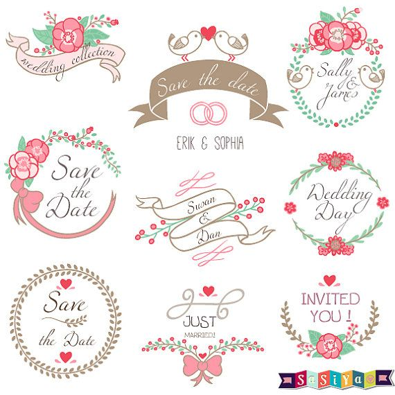 Wedding Collection Badges Design Digital Clip art by ...