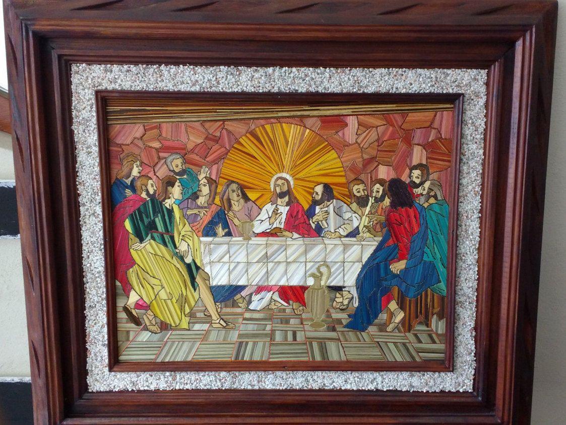 Cuadro de ultima cena de popotillo,marco madera, maria luisa piedra ...