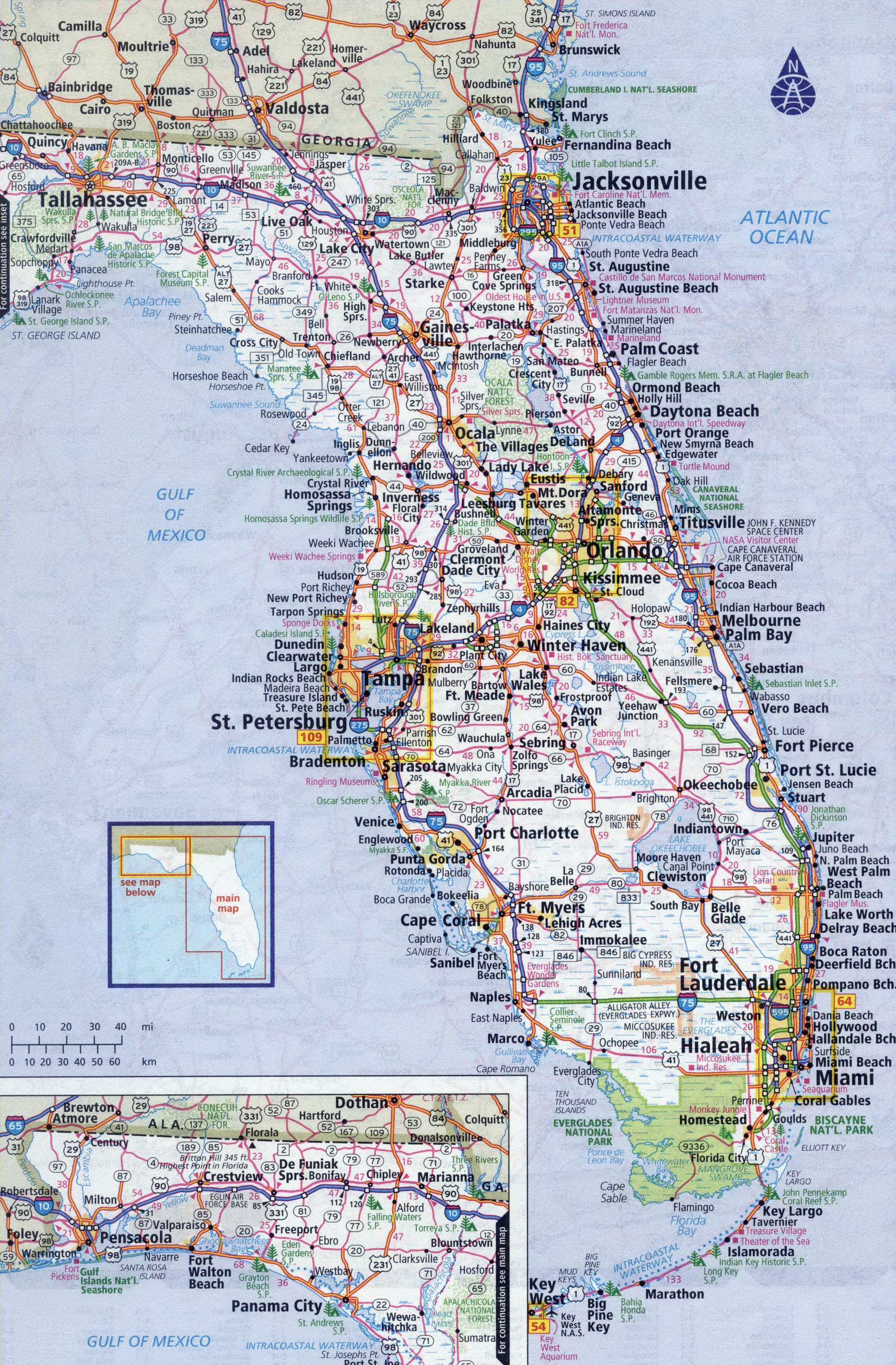 Florida Hwy Map.Large Detailed Roads And Highways Map Of Florida State With