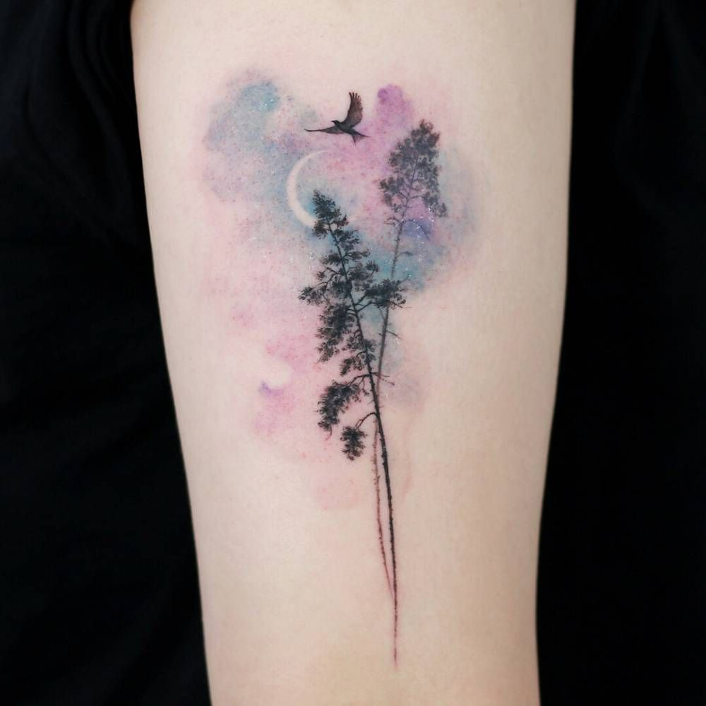 Pine Tree Bird Crescent Tatuajes Estilo Acuarela