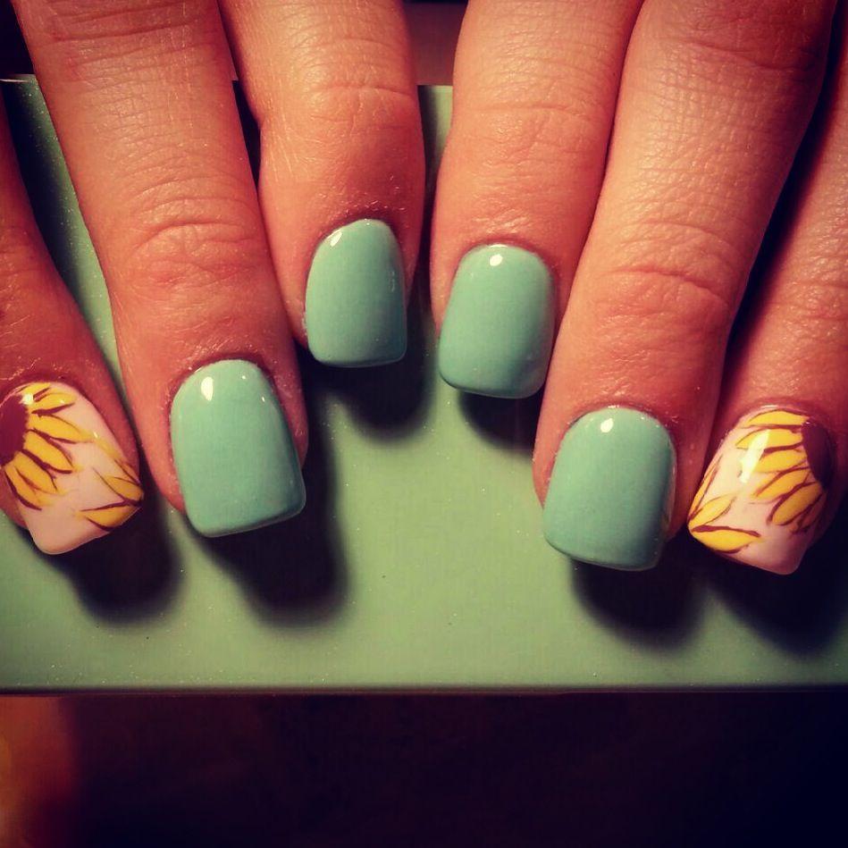Sunflower nails!!!!!! | Beauty | Pinterest | Diseños de uñas, La ...