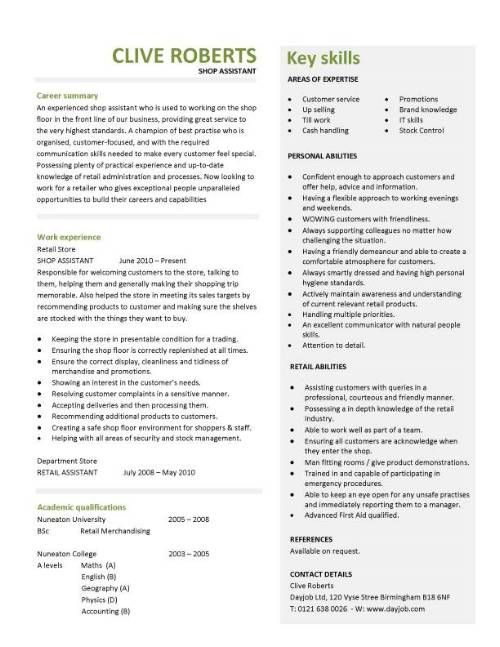 Shop Assistant Resume Sample A Cv Design That Will Effectively Communicate Your Suitability For .