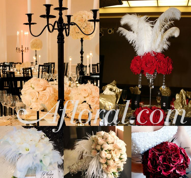 Old Hollywood Vintage Wedding Theme Shop Roses And Feathers For Bouquets Centerpieces Oldhollywood