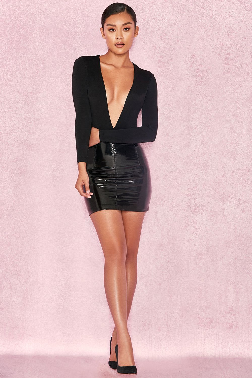 5b62bca6ba Clothing : Skirts : 'Solera' Black Vinyl Mini Skirt | mini skirt ...