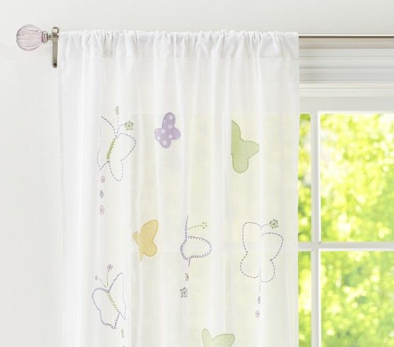 Butterfly Sheer Curtain Panel Pottery Barn Kids Pottery