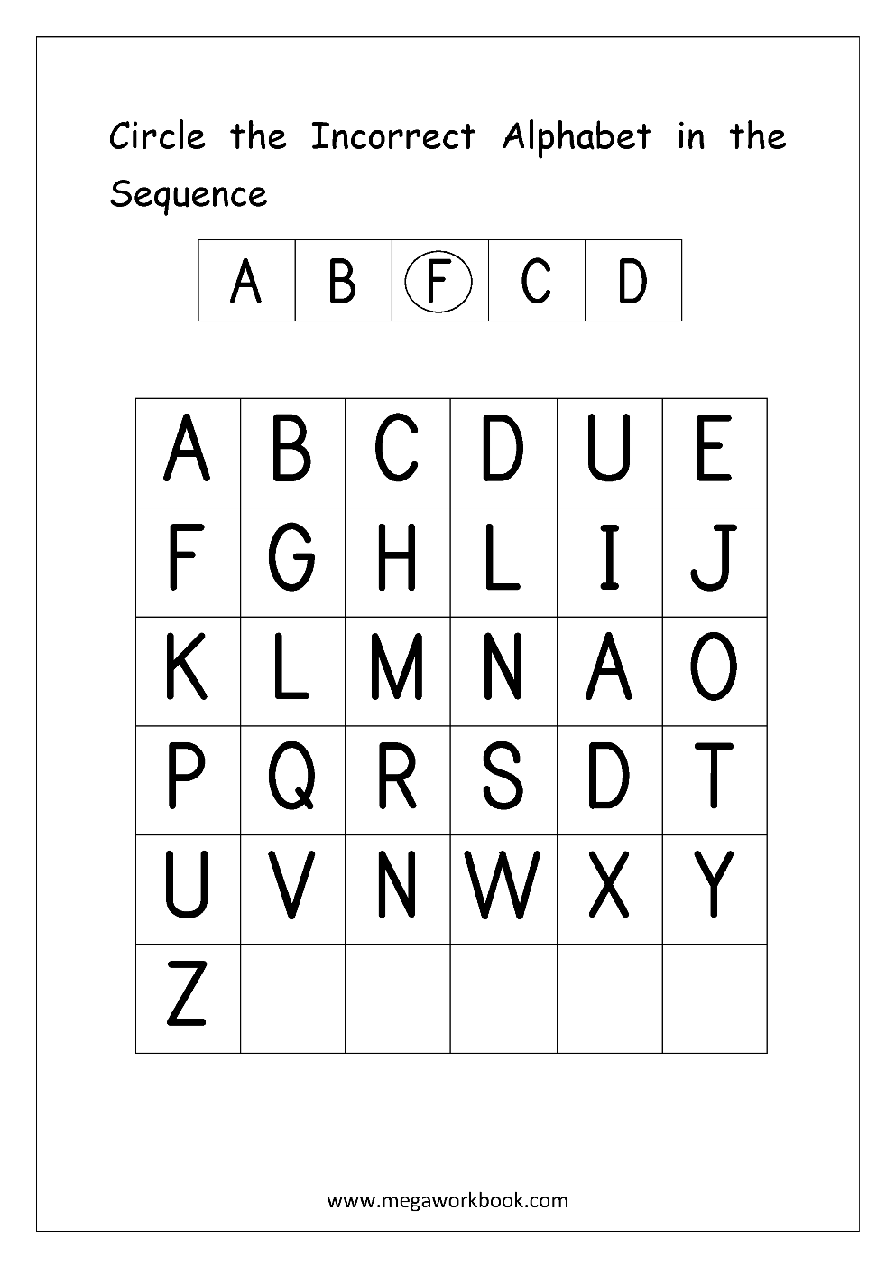 Alphabet Ordering Worksheet Circle Incorrect In The Sequence Alphabet Worksheets Free English Worksheets Alphabet Worksheets Free [ 1403 x 992 Pixel ]
