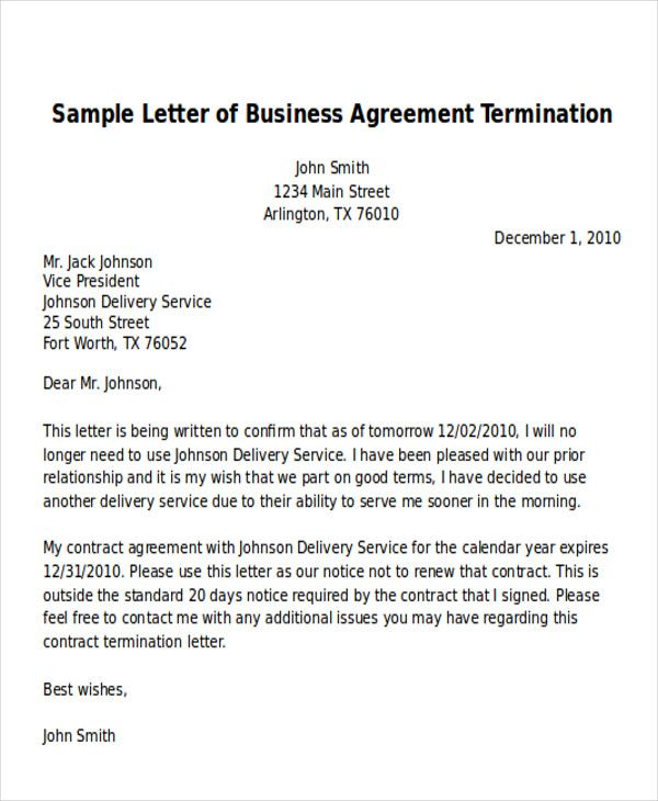 Sample Termination Business Letter Examples Word Pdf Example
