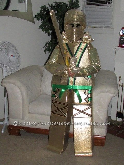 Golden Lego Ninjago Homemade Costume for a Boy
