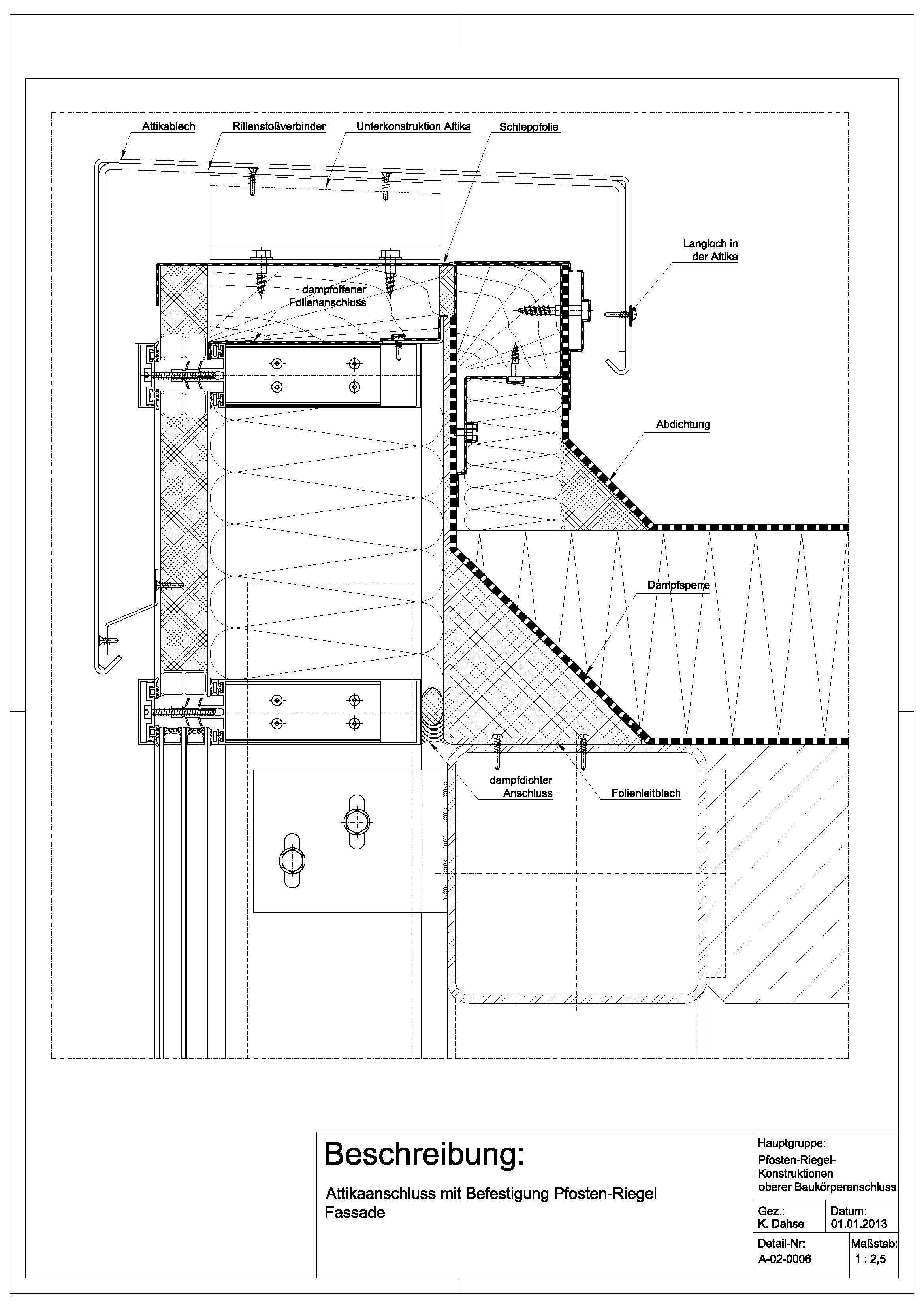 a 02 0006 attikaanschluss mit befestigung an pfosten riegel fassade a 02 0006 drawing details. Black Bedroom Furniture Sets. Home Design Ideas