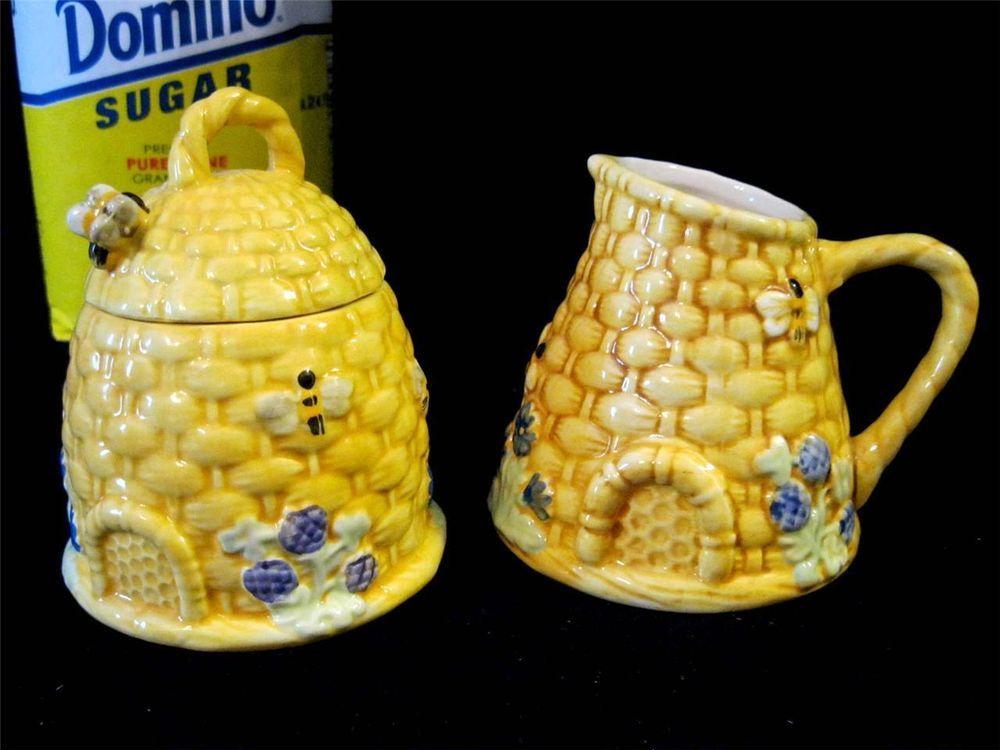Kate Williams Beehive Sugar Creamer Set Bees Flowers Global