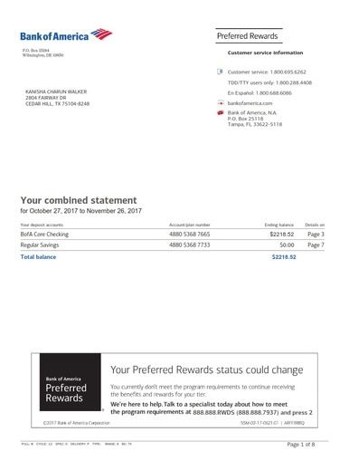 We Customize Bank America Bank Statement To Your Specifications Including Direct Deposits Credits Or Statement Template Bank Statement Credit Card Statement