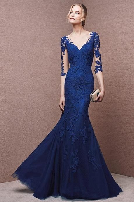 Custom Cheap Royal Blue Long Mermaid Lace Prom Dresses Gowns 2016 with Half Sleeves, Formal Evening Dresses Gowns, Homecoming Graduation Cocktail Party Dresses, Holiday Dresses, Plus size