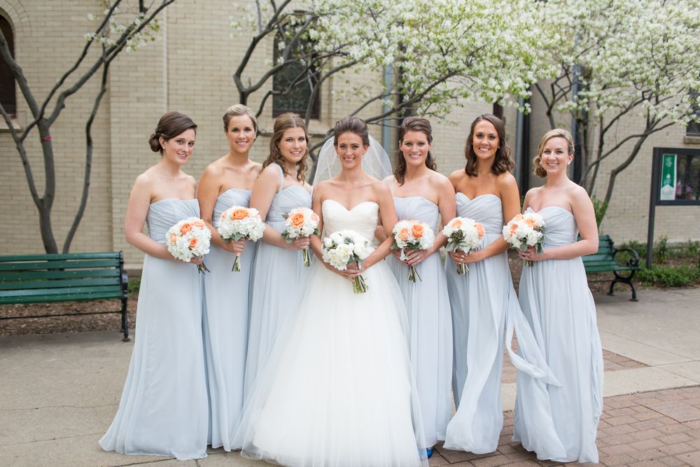 Strapless Ice Blue Bridesmaids Dresses