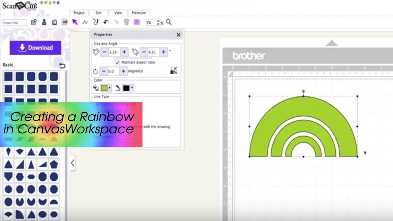 Making a Rainbow Shape in CanvasWorkspace | Brother Scan n Cut ...
