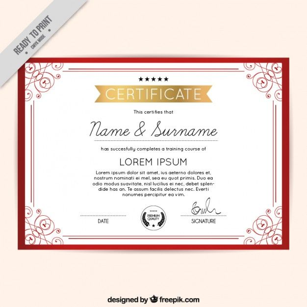 Rojo diploma marco ornamental Vector Gratis | 1 | Pinterest ...