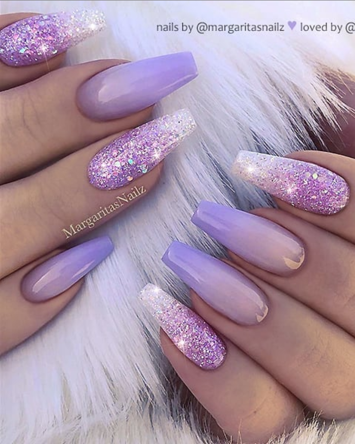 50 Pretty French Pink Ombre And Glitter On Long Acrylic Coffin Nails Design For Spring In 2020 Ombre Nails Glitter Purple Acrylic Nails Mauve Nails