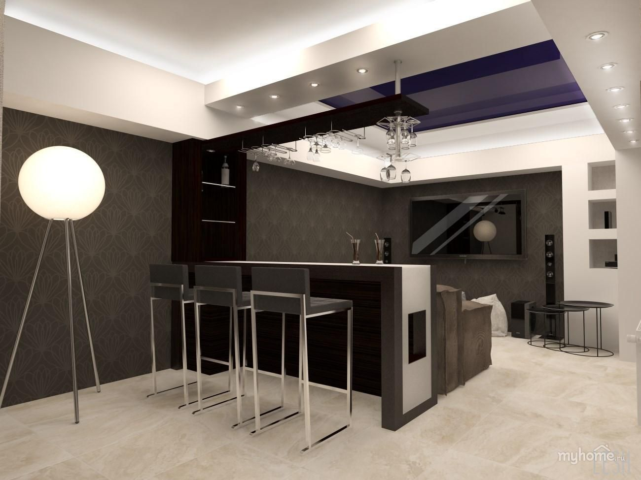 Барная стойка в гостиной фото | Барная стойка, Дом, Квартира