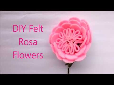diy how to make felt rosa flowers tutorial cara membuat bunga flanel easy simple