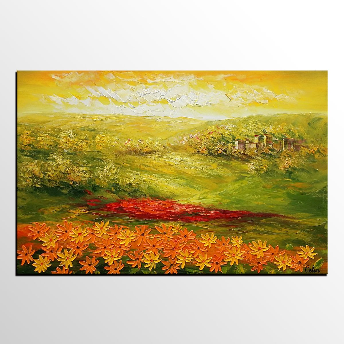 Landscape Painting, Original Oil Painting, Sunflower Field Painting ...