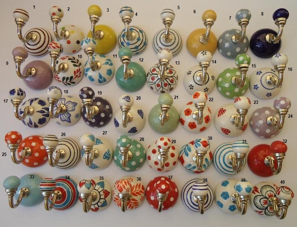 Assorted Ceramic Hooks Handpainted Hooks Bathroom Hooks ...