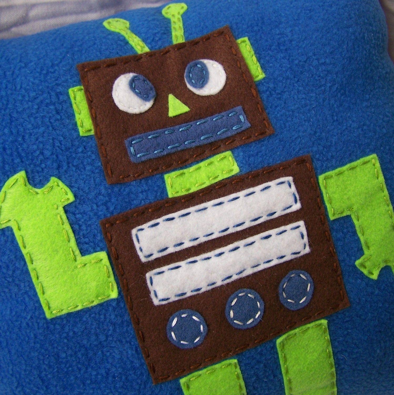 Tot Bot Pillow, Felt Robot Pillow. 25.00, via Etsy