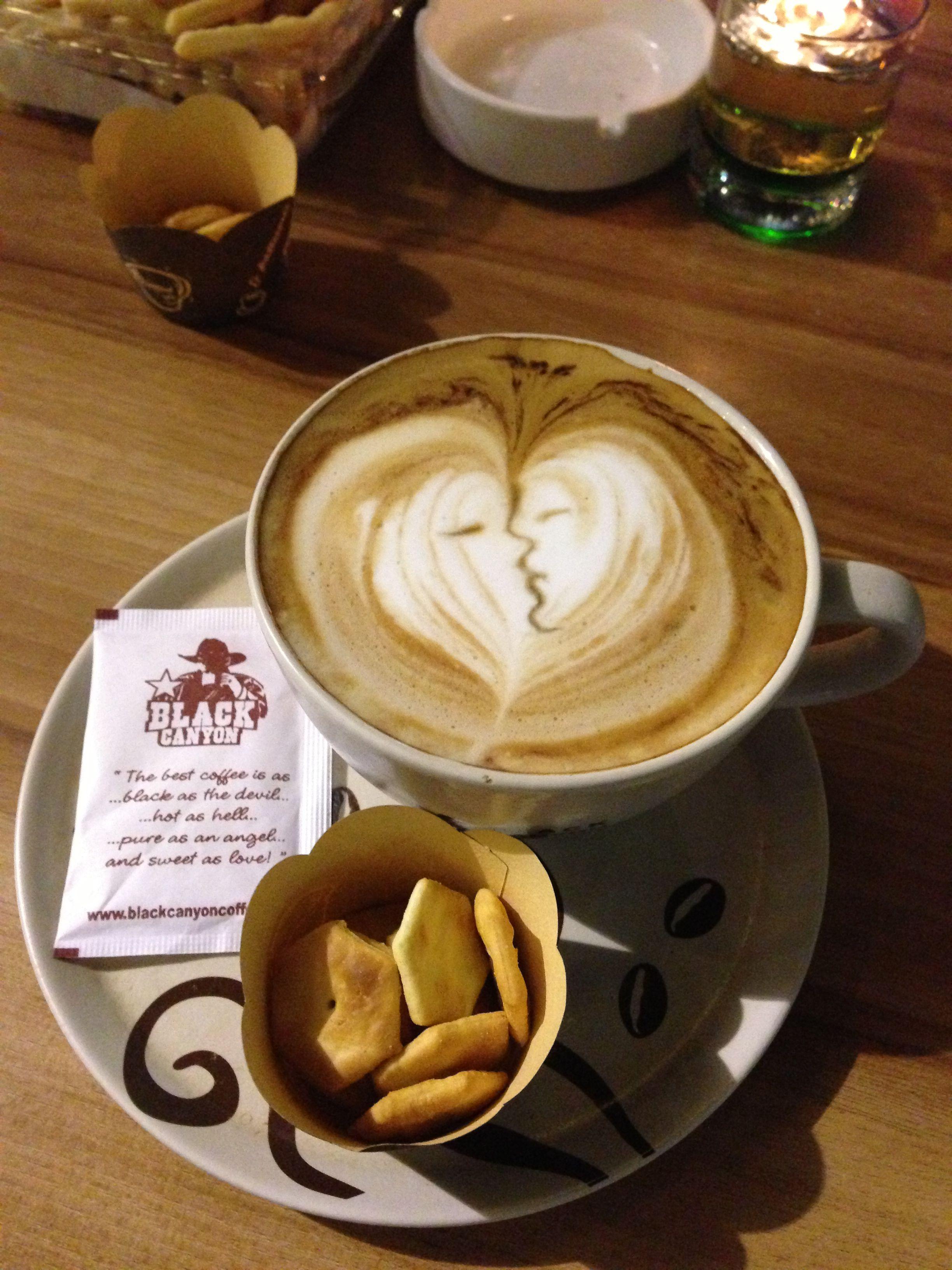 """Love Cappuccino"" prepared at Black Canyon Coffee shop"