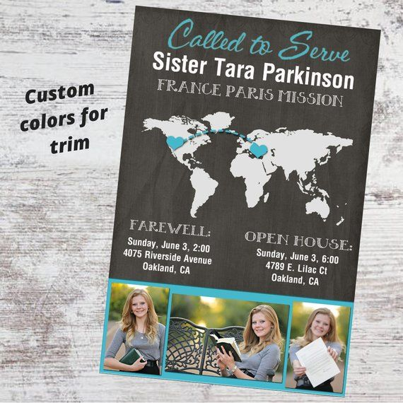lds missionary farewell announcement card customized