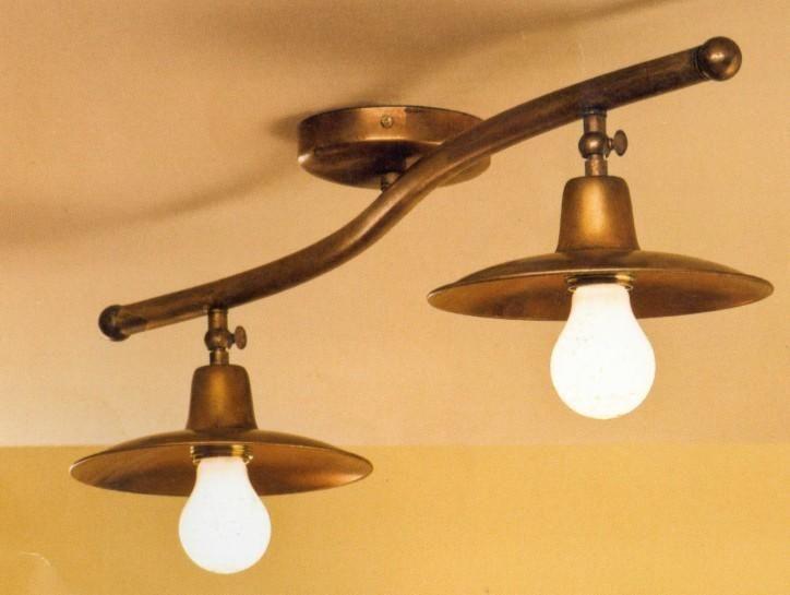Plafoniere Ottone Per Esterni : Plafoniera due luci lunga cm in ottone con snodi verniciata di