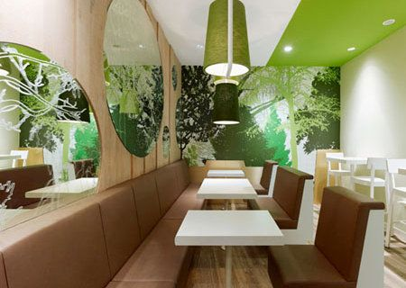 Deco green interior | Decoration interieure Fast-food Wienerwald ...