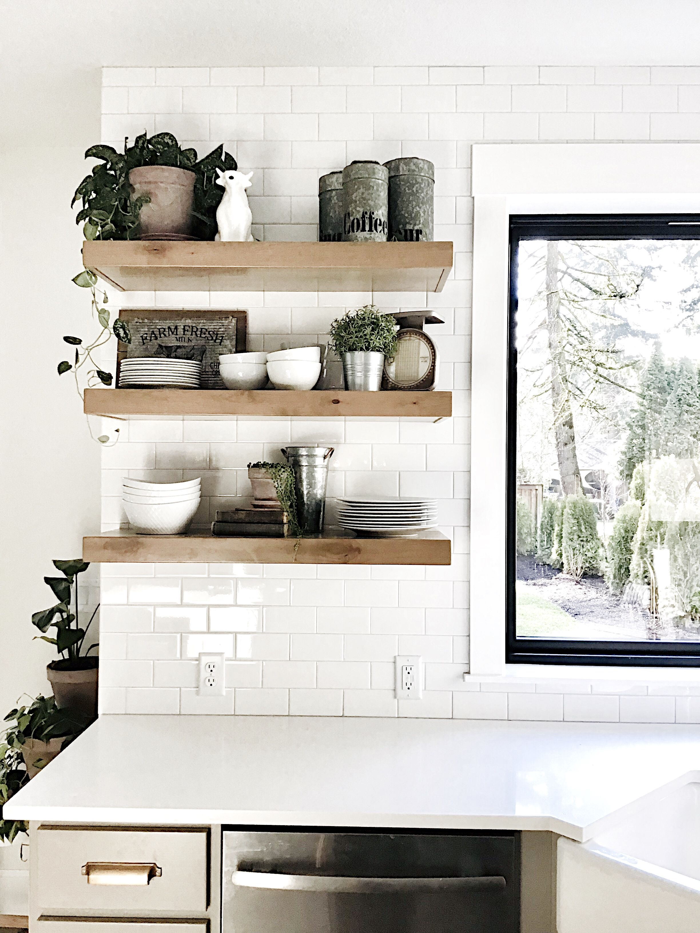 farmhouse kitchen open shelves antiques white dishes and plants some of my favorite things on farmhouse kitchen open shelves id=52740