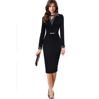 TOMCARRY Women Polka Dots Collar Waist Fastening Bodycon Dress Black