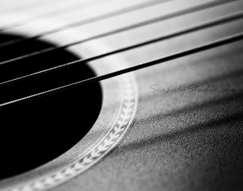 Acoustic guitar guitar photo black white macro by sealilystudio