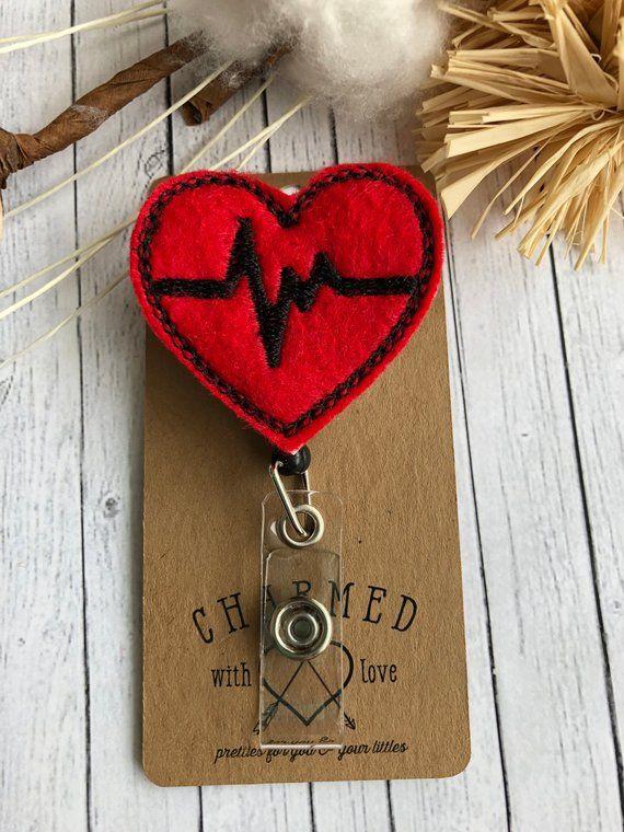 EKG Heart Badge Reel/Retractable Badge Holders/EKG Badge