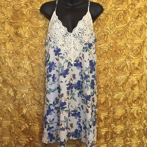 Flower print dress Summer dress  Flower print Crochet details Sleeveless Dresses Mini
