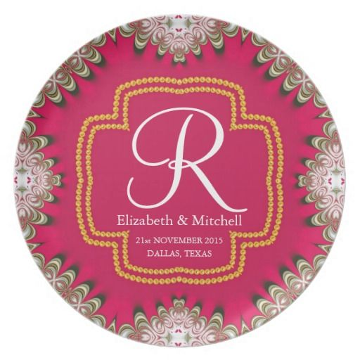 Deep Pink Gold Lacy Monogram Wedding Gift Plate #personalized #gift ideas #memento #anniversary