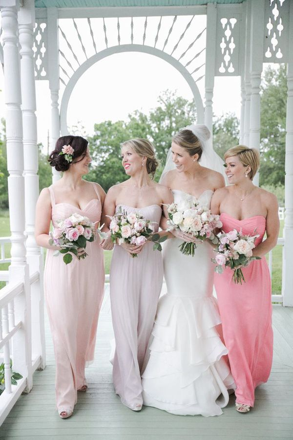 CUTE idea-- bridesmaids all wear the same color, but maid of honor ...