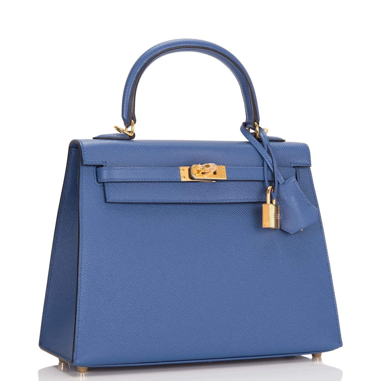 Photo of Hermes Bleu Brighton Epsom Sellier Kelly 25cm Gold Hardware