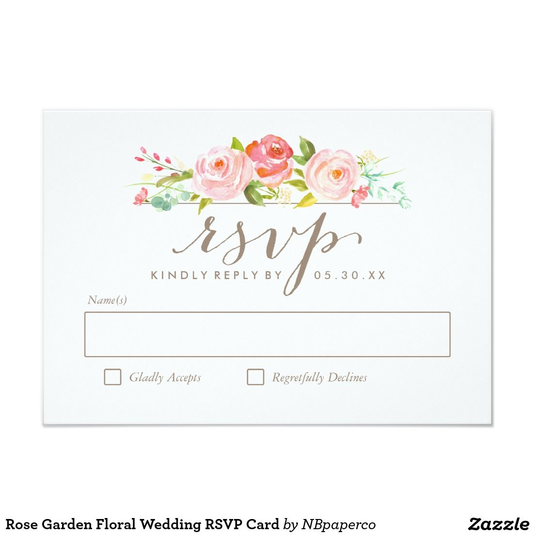 Rose Garden Floral Wedding Rsvp Card Gardens Wedding And Roses Garden