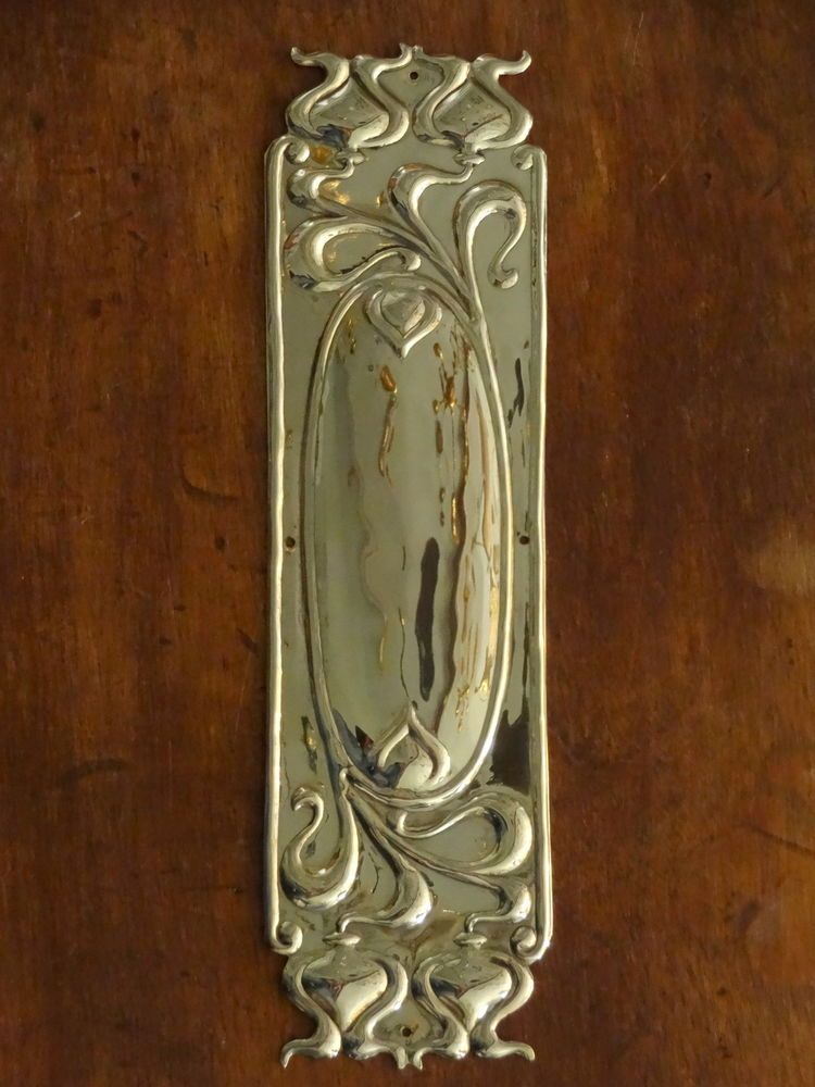 Art Nouveau Push Plate in Antique Copper