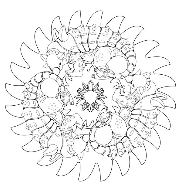 download en dinosaur mandala tegning  malvorlage