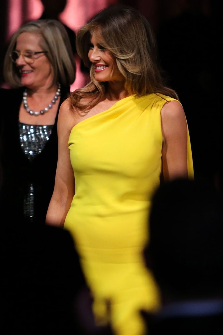 Melania Trump Wears A Yellow Dior Gown To Meet The Australian Prime