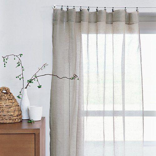 Sheer linen window panels from west elm pleated curtains for Linen sheer window panels