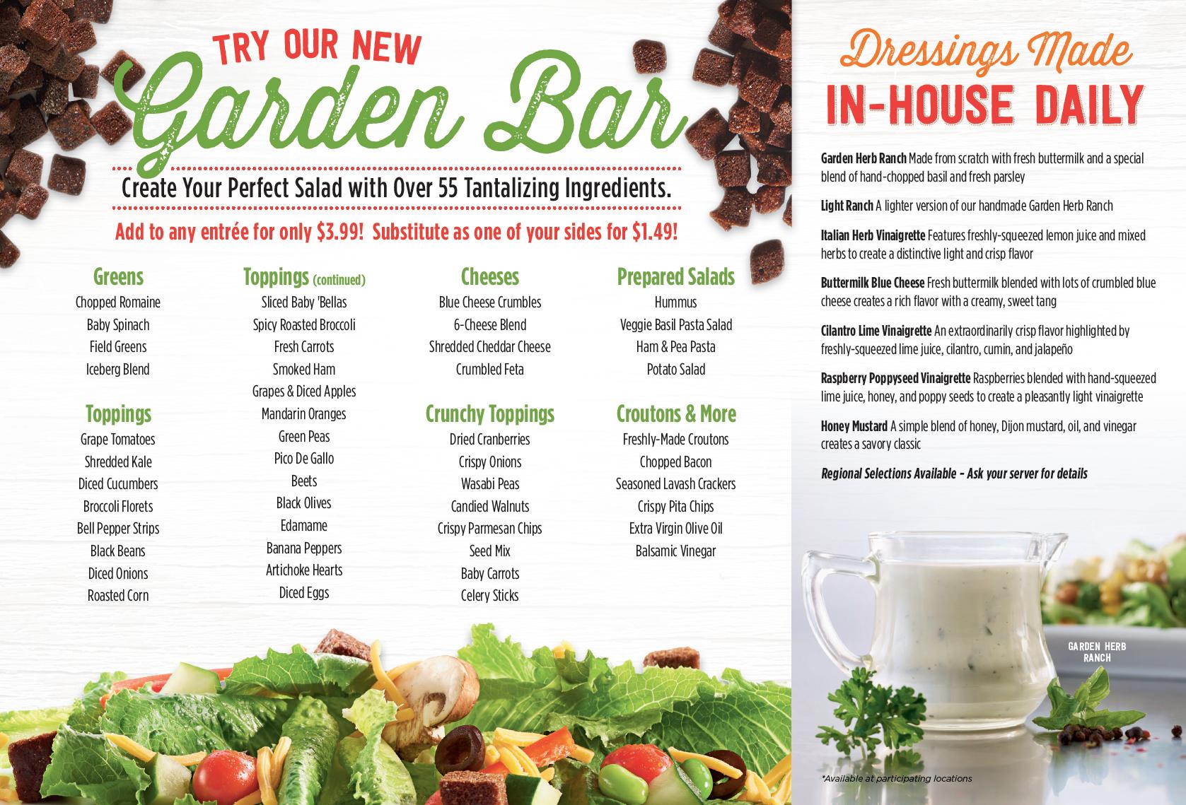 Garden Bar List Garden Bar Perfect Salads Salad Bar