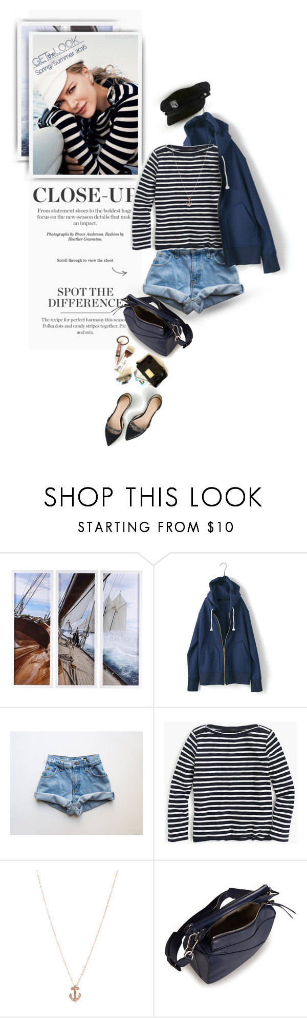 """""""♫ Billy Joel — The Downeaster 'Alexa'"""" by monazor ❤ liked on Polyvore featuring J.Crew, JustFab, Loewe and stripes"""