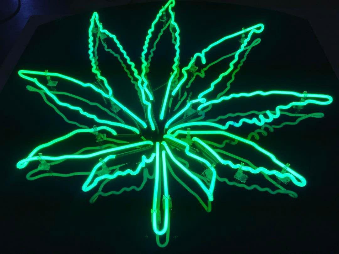 4 Neon Marijuana Leaf Art Neonart Neonartist Losangeles