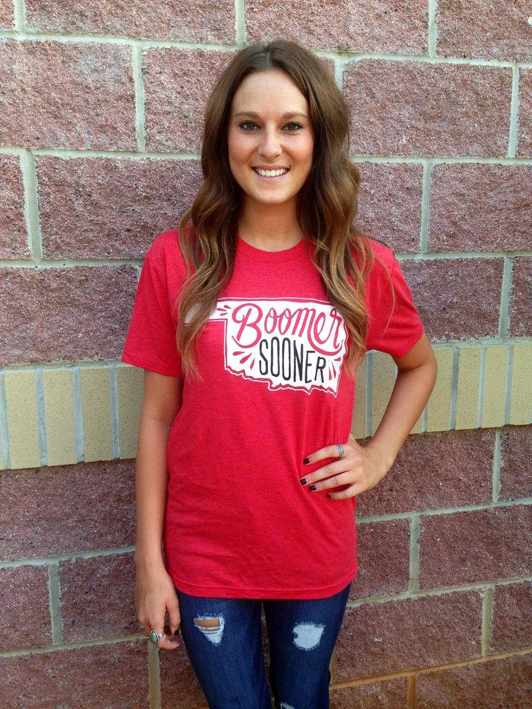 OU boomer sooner crew neck t-shirt  cute university of oklahoma women s  tshirt  OU boomer sooner crew neck t-shirt 90ab18573
