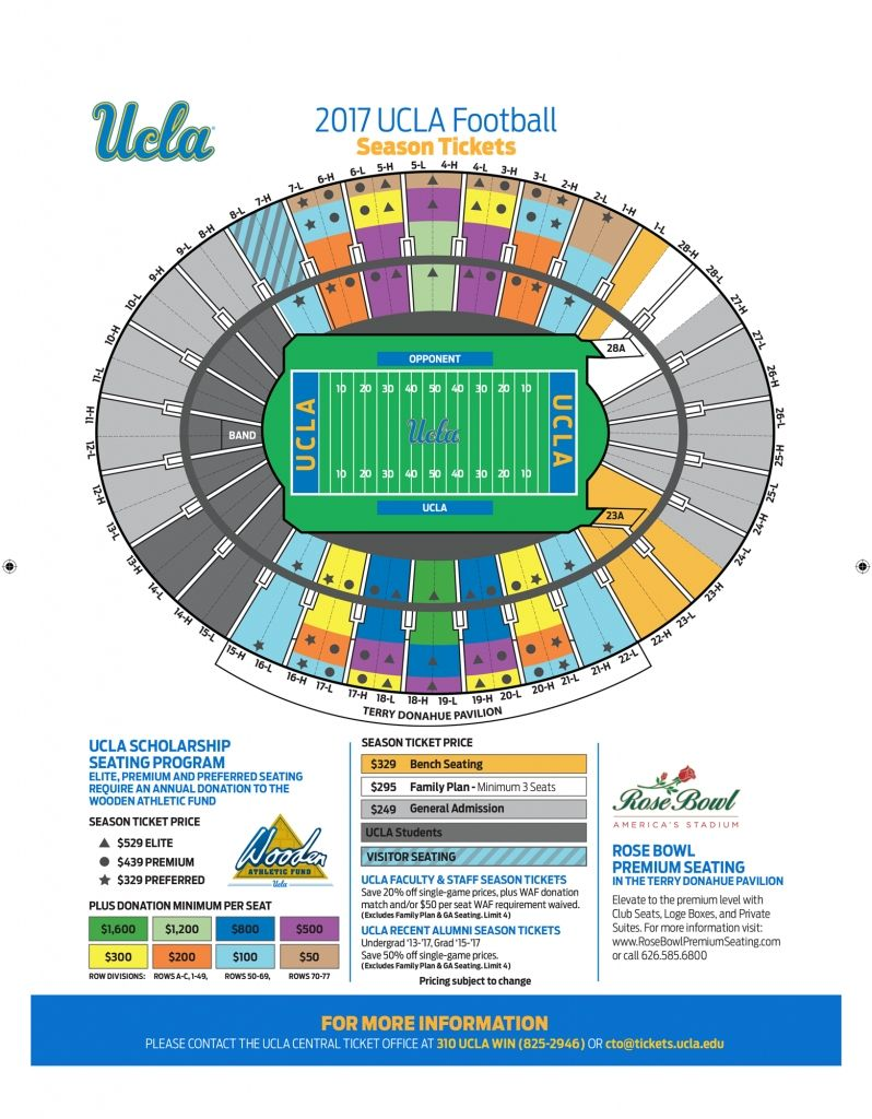 Rose Bowl Seating Chart Rose Bowl Stadium Seating Charts Rose Bowl