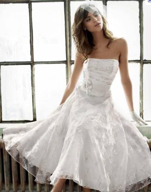 Tea length lace wedding gown